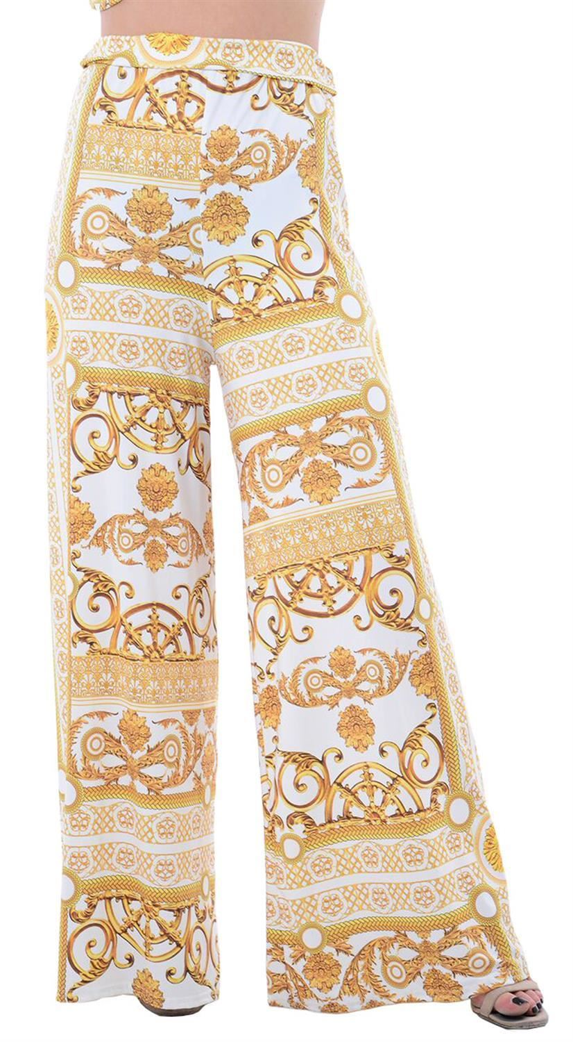 thumbnail 22 - New Women Casual Flare Wide Leg Long Floral Printed Palazzo Baggy Trousers