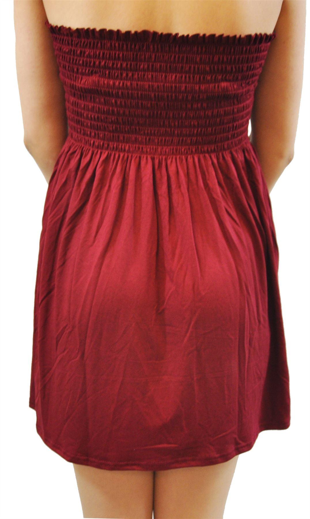 Dames-Plus-Taille-Vin-Feuilles-Papillon-Sheering-Sans-bretelles-Boob-Tube-Tops miniature 11