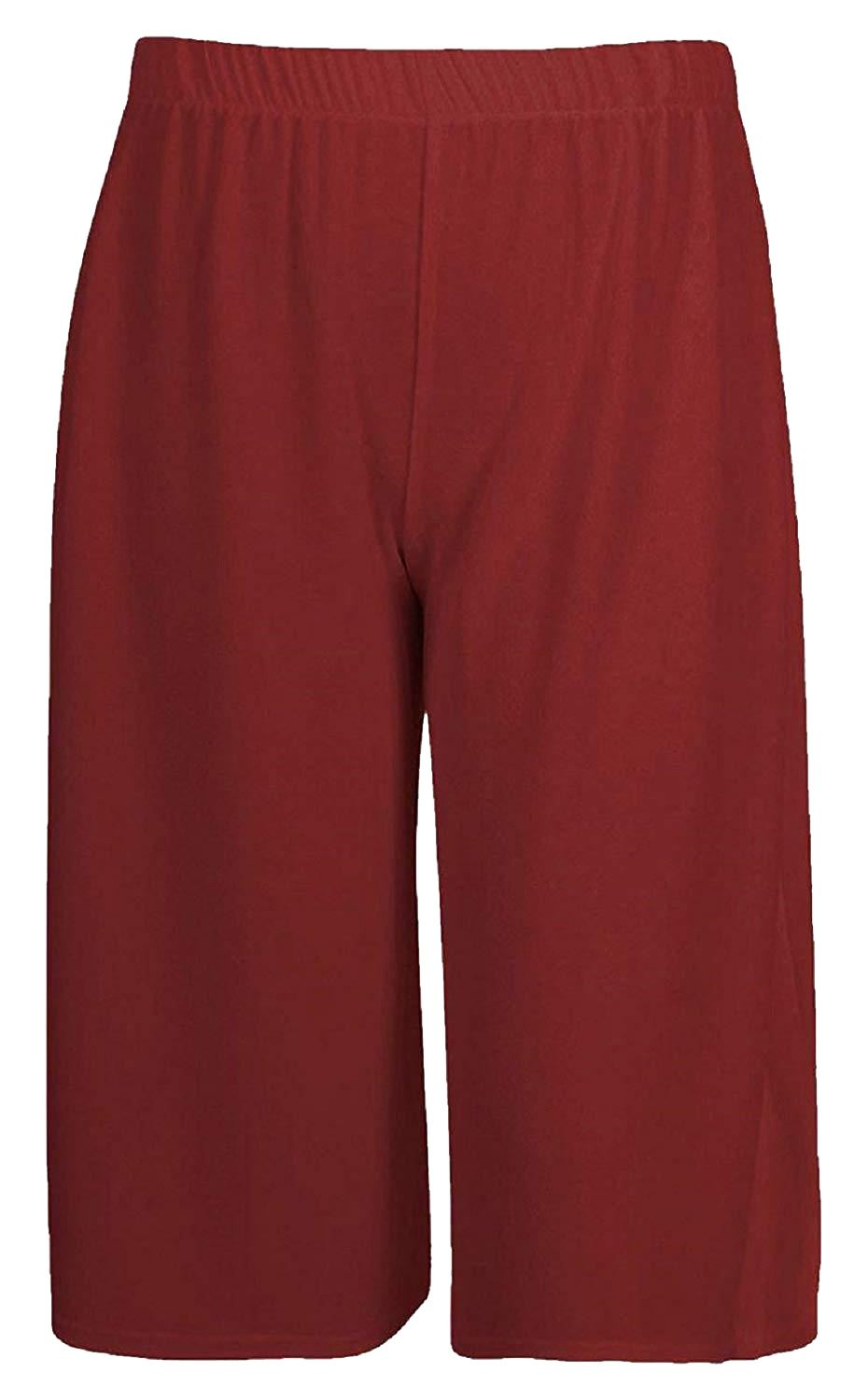 New-Womens-Plus-Size-Stretch-Elasticated-Wide-Leg-Culottes-Shorts-16-26