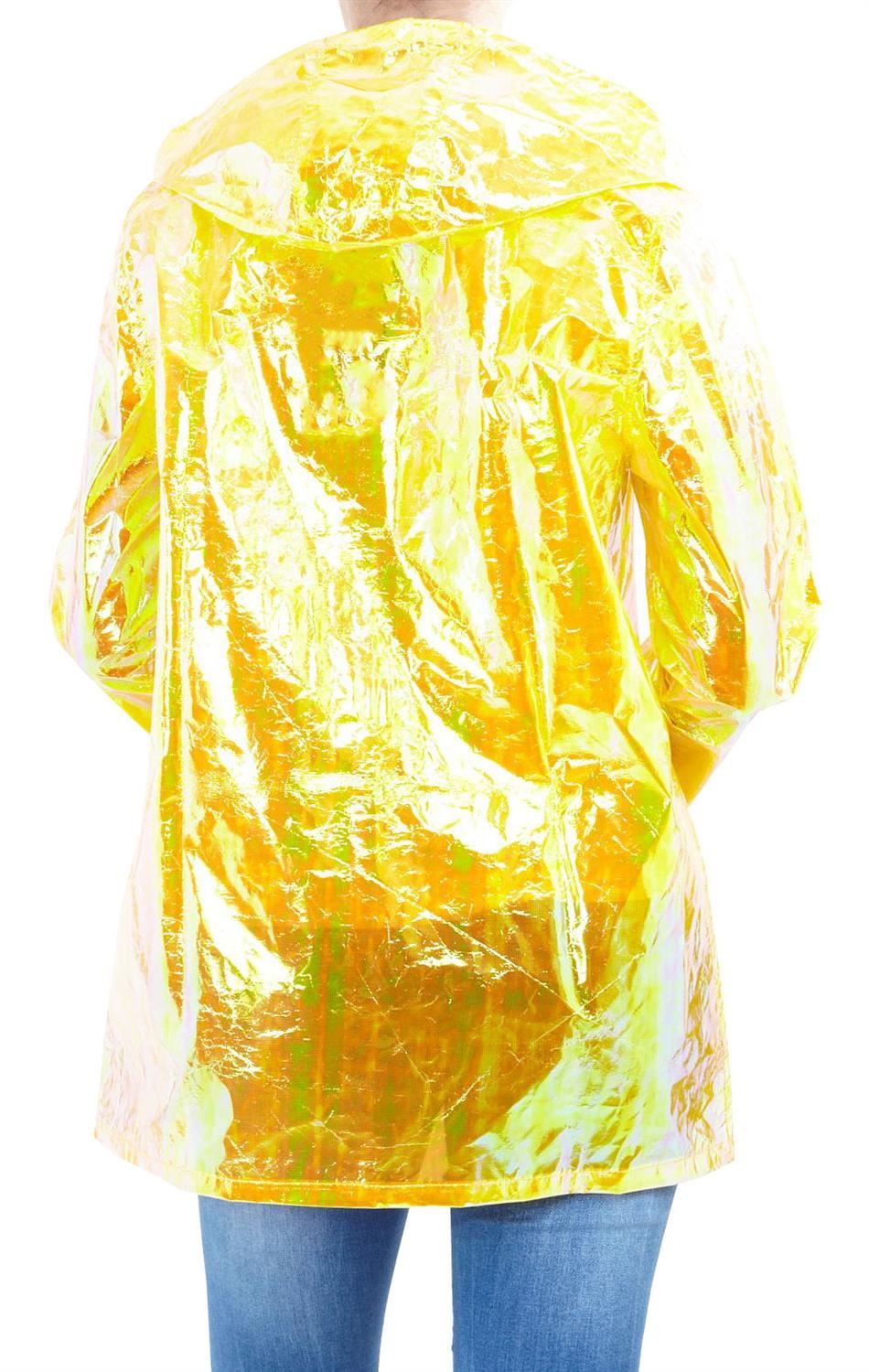 Womens-Waterproof-Holographic-Zipped-Neon-Festival-Mac-Jacket-Parka-Raincoat thumbnail 19