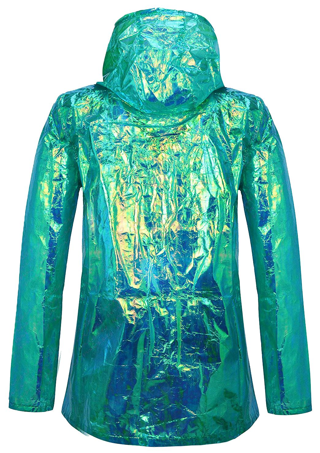 New-Ladies-Unicorn-Holographic-Zipped-Neon-Festival-Mac-Parka-Raincoat-Jacket thumbnail 3