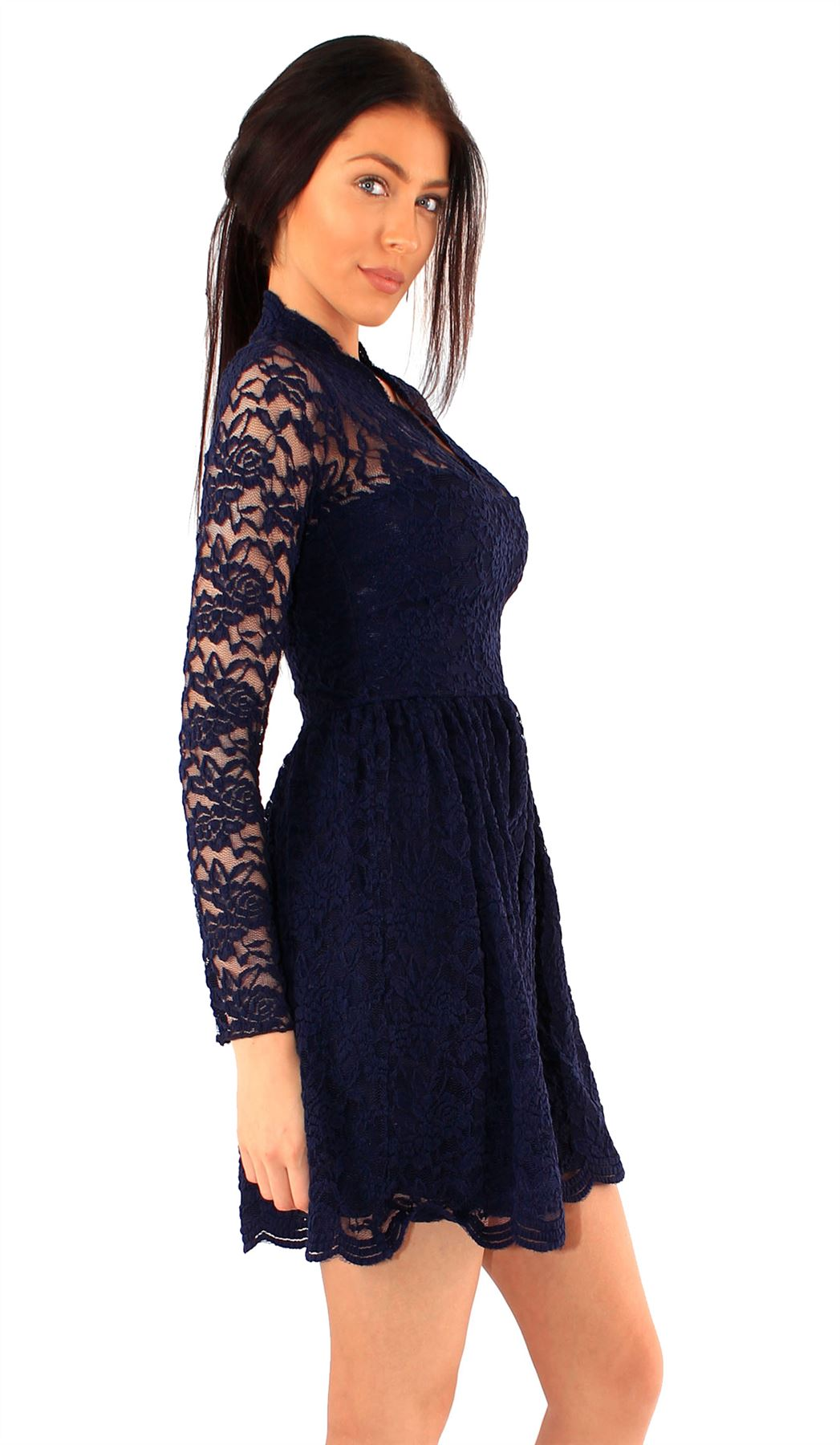 148b63fe8467 New Womens Long Sleeve Scallop Lace V-Front Skater Dress 8-22 | eBay