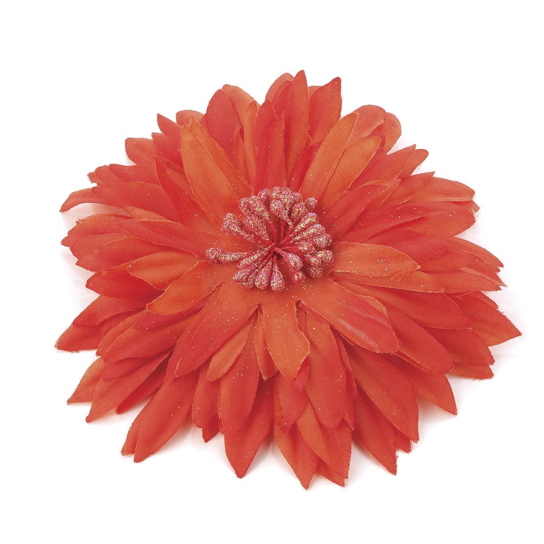 New Womens Orange Tone Satin Flower Decoration Hair Clip