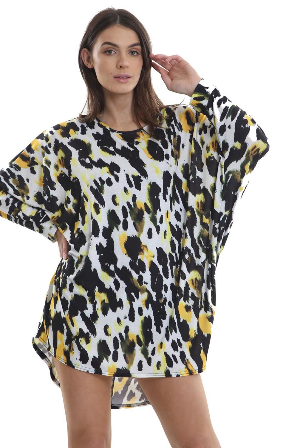 Womens Oversized Dipped Hem Hi Lo Back Baggy Batwing Top Tunic Dress Plus Sizes
