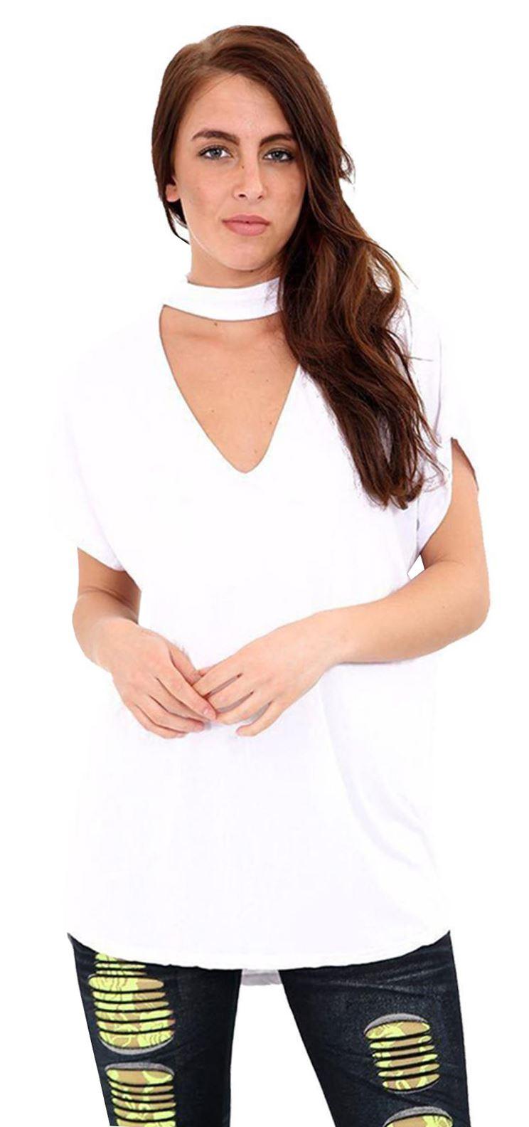 Womens V Nack Chocker Baggy Top Ladies Turn Up Short Sleeve Top T Shirt 8-28