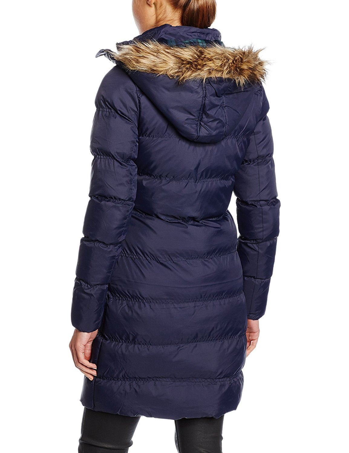 New Womens Contrast Color Hood Quilted Padded Puffer Parka ...