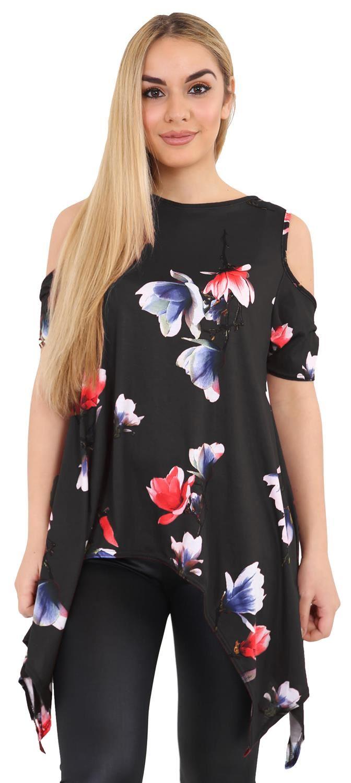 New Ladies Plus Size Cold Shoulder Cut Uneven Hem Floral Tunic ...