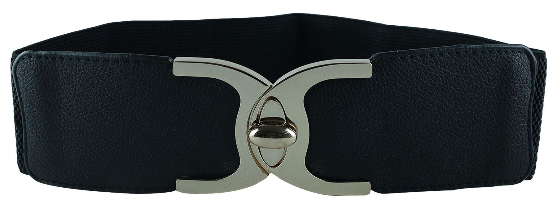 Ladies-Metal-Twist-Turn-Lock-Closure-Elasticated-Wide-Stretch-Cinch-Waist-Belts