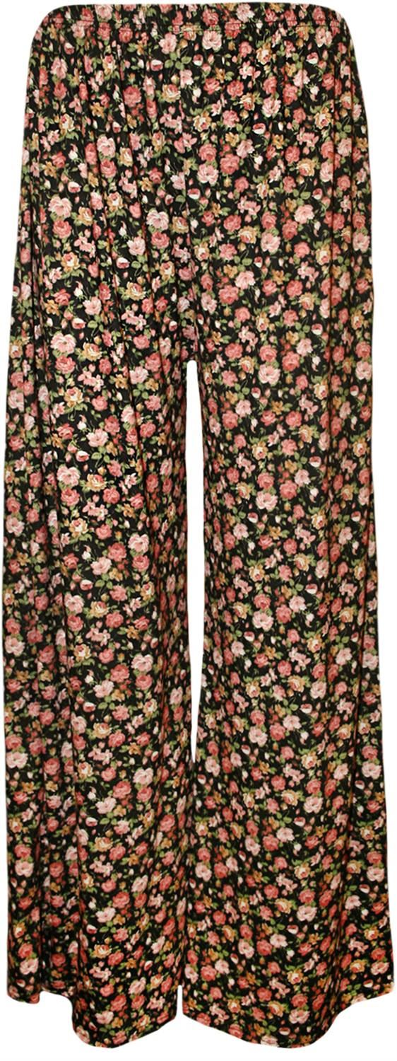 thumbnail 13 - New Women Casual Flare Wide Leg Long Floral Printed Palazzo Baggy Trousers