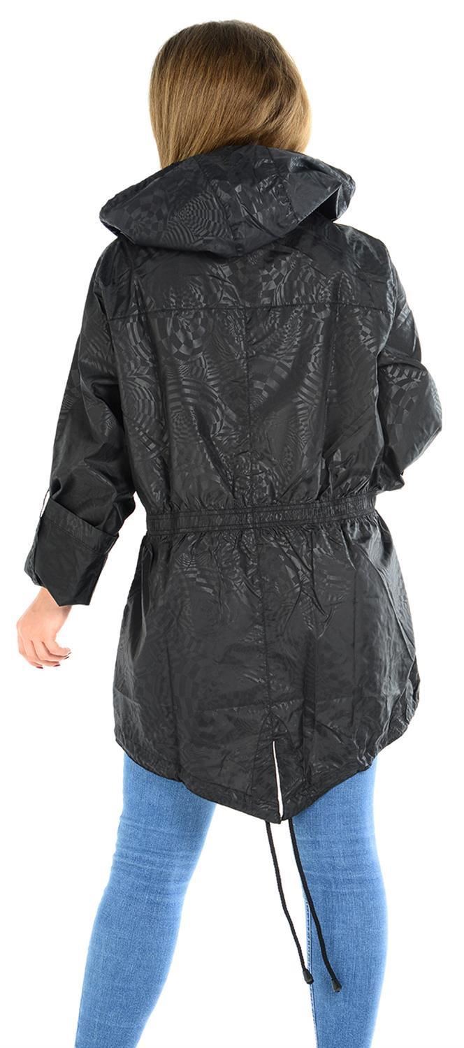 Ladies-Plus-Size-Plain-Printed-Parka-Hooded-Fishtail-Polyester-Mac-Raincoats thumbnail 75