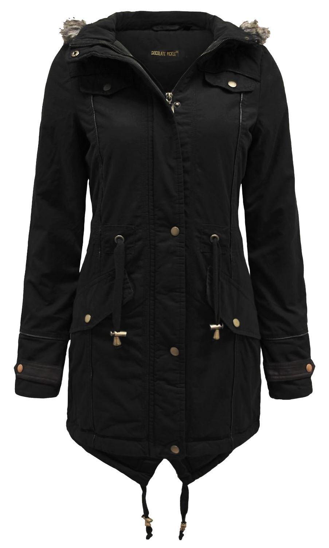 Womens Fish Tail Hem Padded Jacket Oversized Fur Hood Parka Coats 10