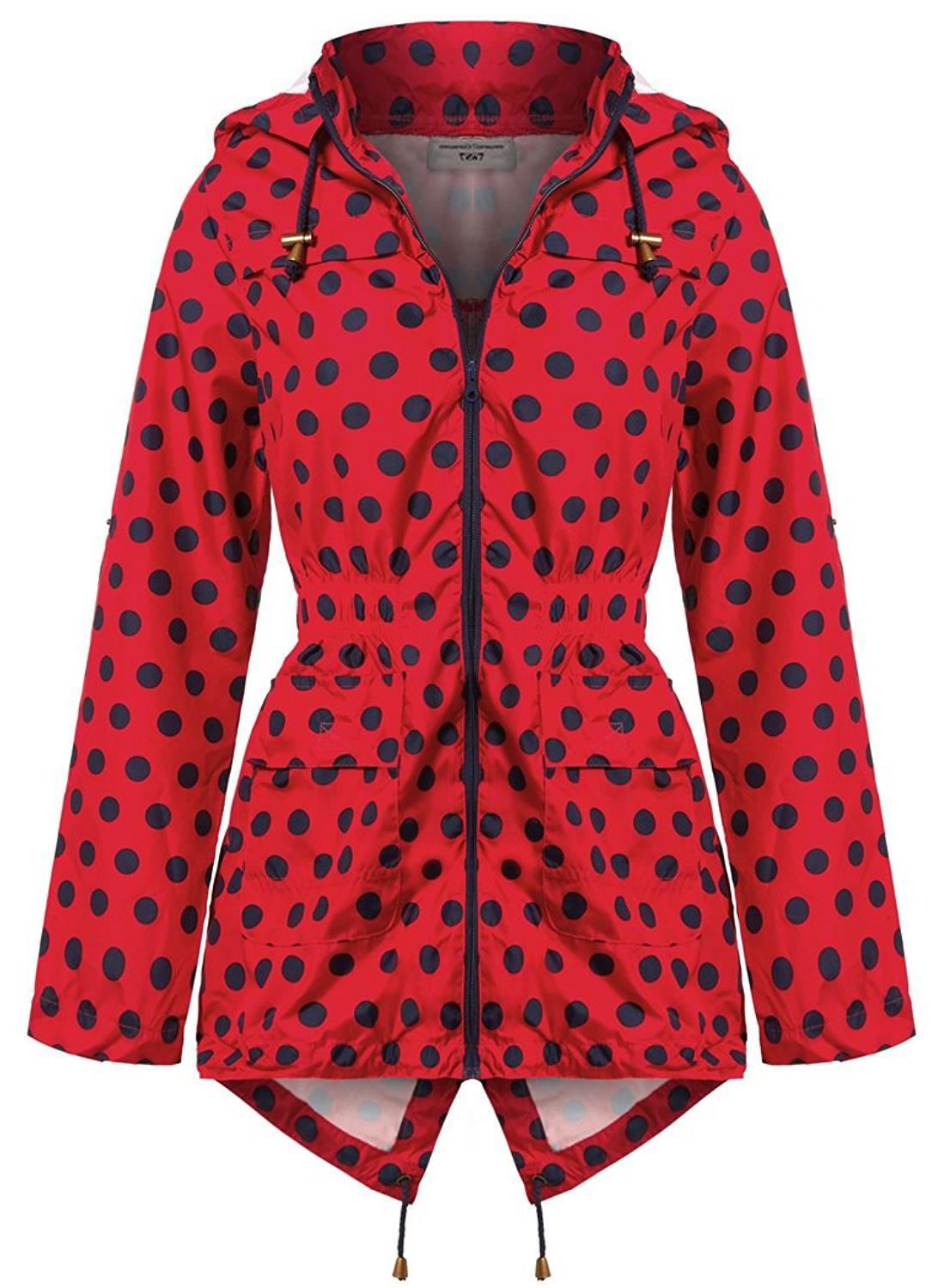 Ladies-Plus-Size-Plain-Printed-Parka-Hooded-Fishtail-Polyester-Mac-Raincoats thumbnail 53