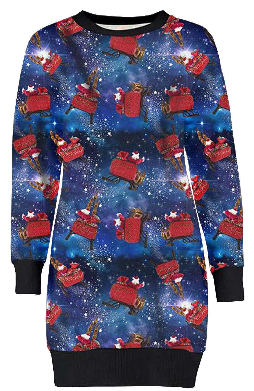 Frauen Frohe Weihnachten Schneemann Pinguin Candy Stock Sweatshirt Jumper Kleid