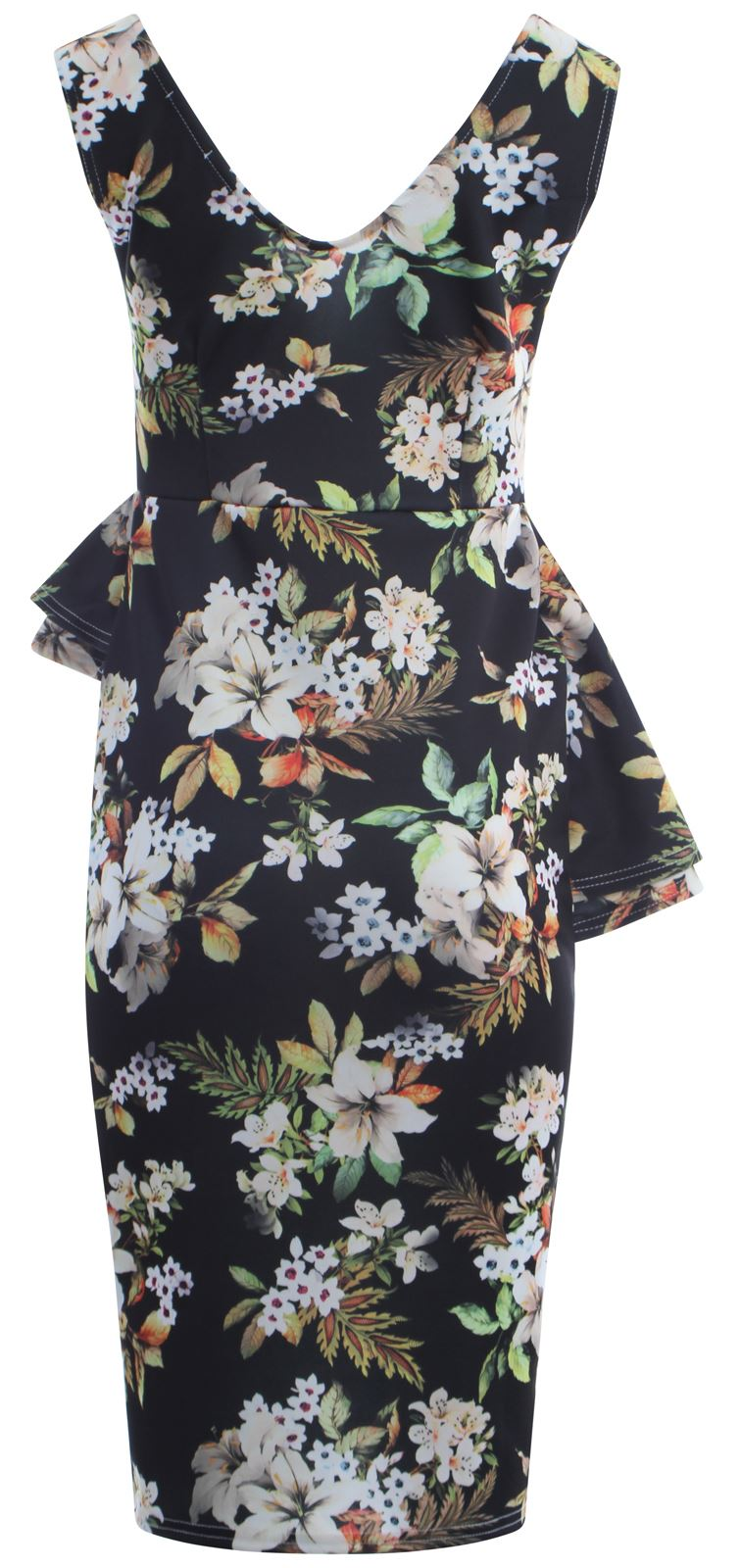 thumbnail 4 - Womens Tropical Lilly Floral Print Double Peplum Bodycon Midi Skirt Dress 8-22
