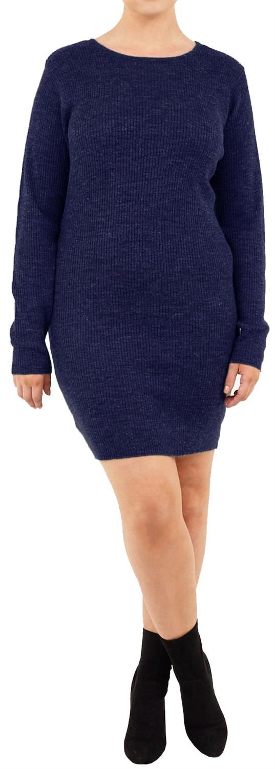 Womens-Long-Sleeve-All-Over-Ribbed-Thermal-Winter-Knitted-Pullover-Jumper-Dress