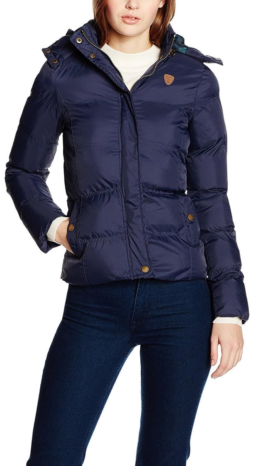New Womens Contrast Color Hood Quilted Padded Puffer Parka