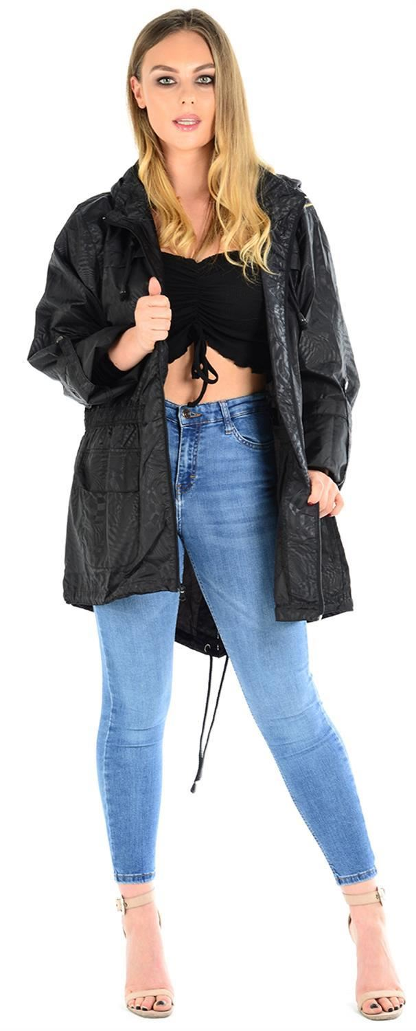 Ladies-Plus-Size-Plain-Printed-Parka-Hooded-Fishtail-Polyester-Mac-Raincoats thumbnail 74
