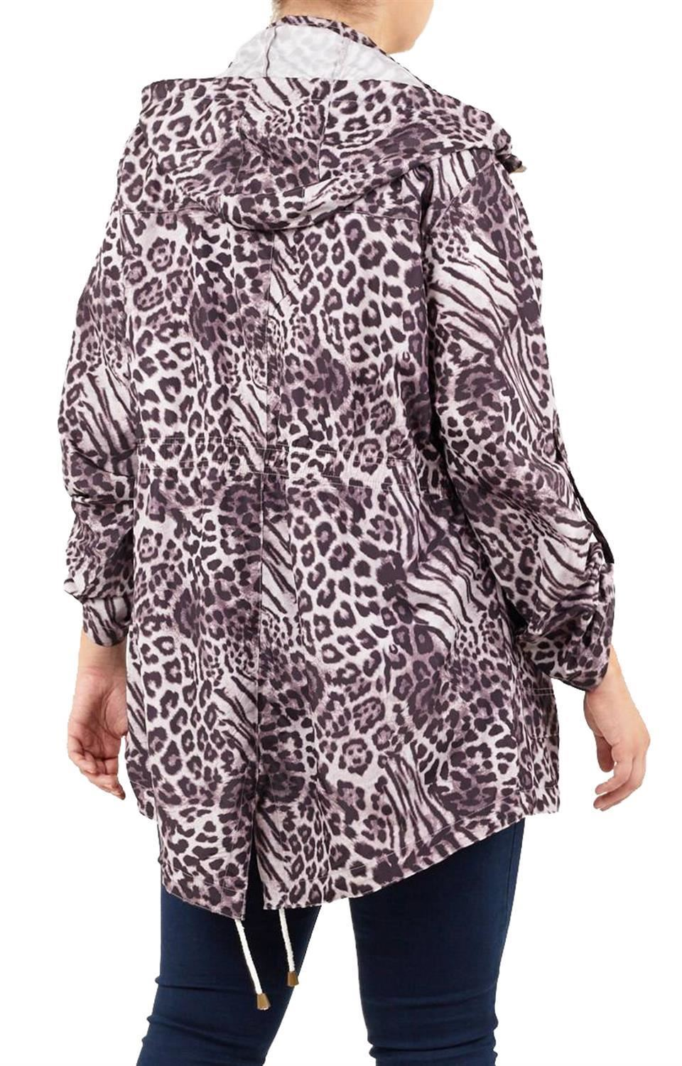 Ladies-Plus-Size-Plain-Printed-Parka-Hooded-Fishtail-Polyester-Mac-Raincoats thumbnail 71