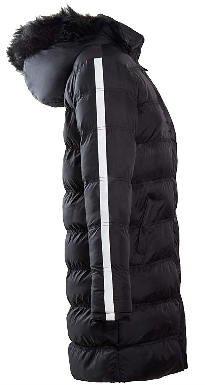 Nouveau-Femme-long-fausse-fourrure-col-matelasse-gilet-manteau-d-039-hiver-a-Capuche-Parka miniature 7