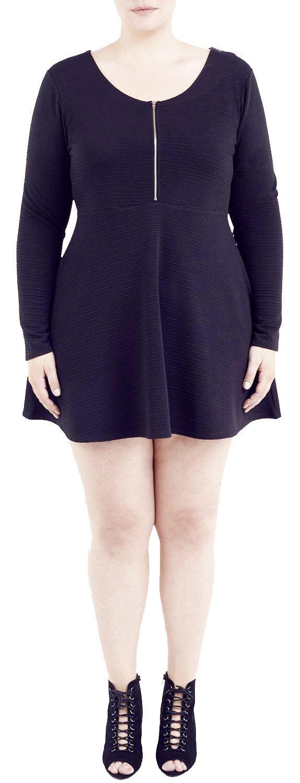 New Ladies Plus Size Long Sleeve Zip Front Zipper Skater Dress 12 18
