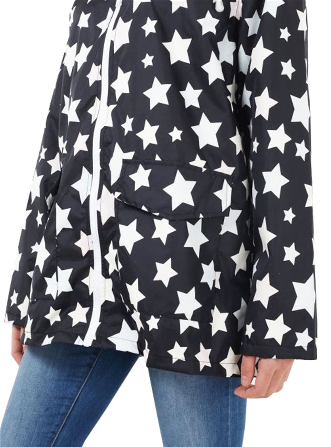 New-Ladies-Plus-Size-All-Over-Star-Print-Showerproof-Mac-Jacket-Raincoat-18-24 thumbnail 4