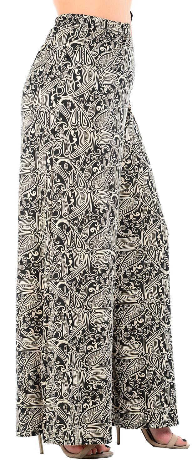 Womens Paisley Multi Coloured Palazzo Trousers Wide Leg Flared Pants 16-30