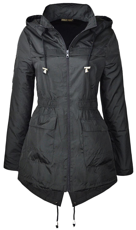 Ladies-Plus-Size-Plain-Printed-Parka-Hooded-Fishtail-Polyester-Mac-Raincoats