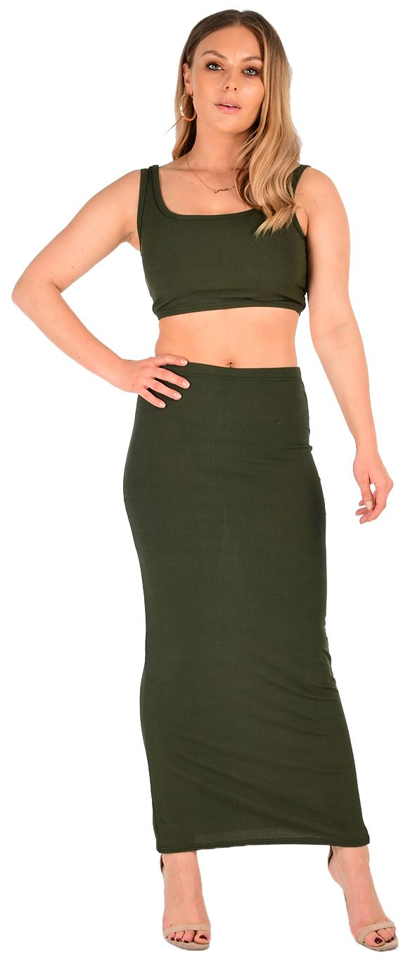 9039dc82b New Ladies Ribbed Two Piece Crop Top Long Pencil Skirt Co-Ord Suit ...