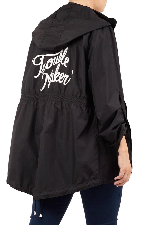 New Womens Parka Mac Pineapple Print Turn Up Sleeve Hooded Raincoat Jacket 18-24