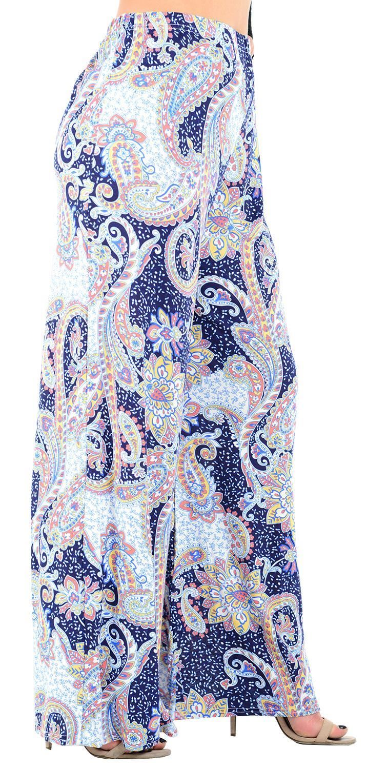 thumbnail 33 - New Women Casual Flare Wide Leg Long Floral Printed Palazzo Baggy Trousers