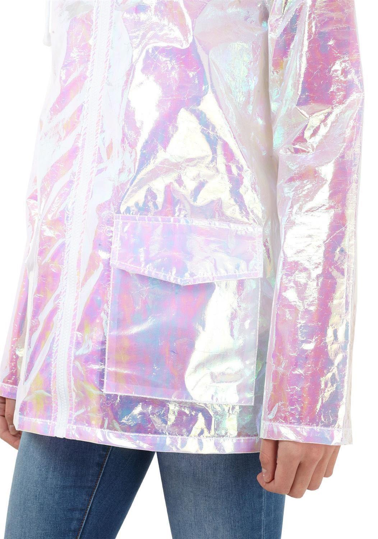Womens-Holographic-Waterproof-Zipped-Neon-Festival-Jacket-Mac-Parka-Raincoat thumbnail 16