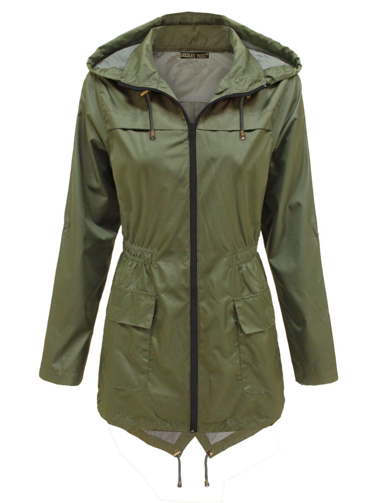 New-Womens-Plus-Size-Contrast-Zip-Waterproof-Raincoats- - New Womens Plus Size Contrast Zip Waterproof Raincoats Fishtail