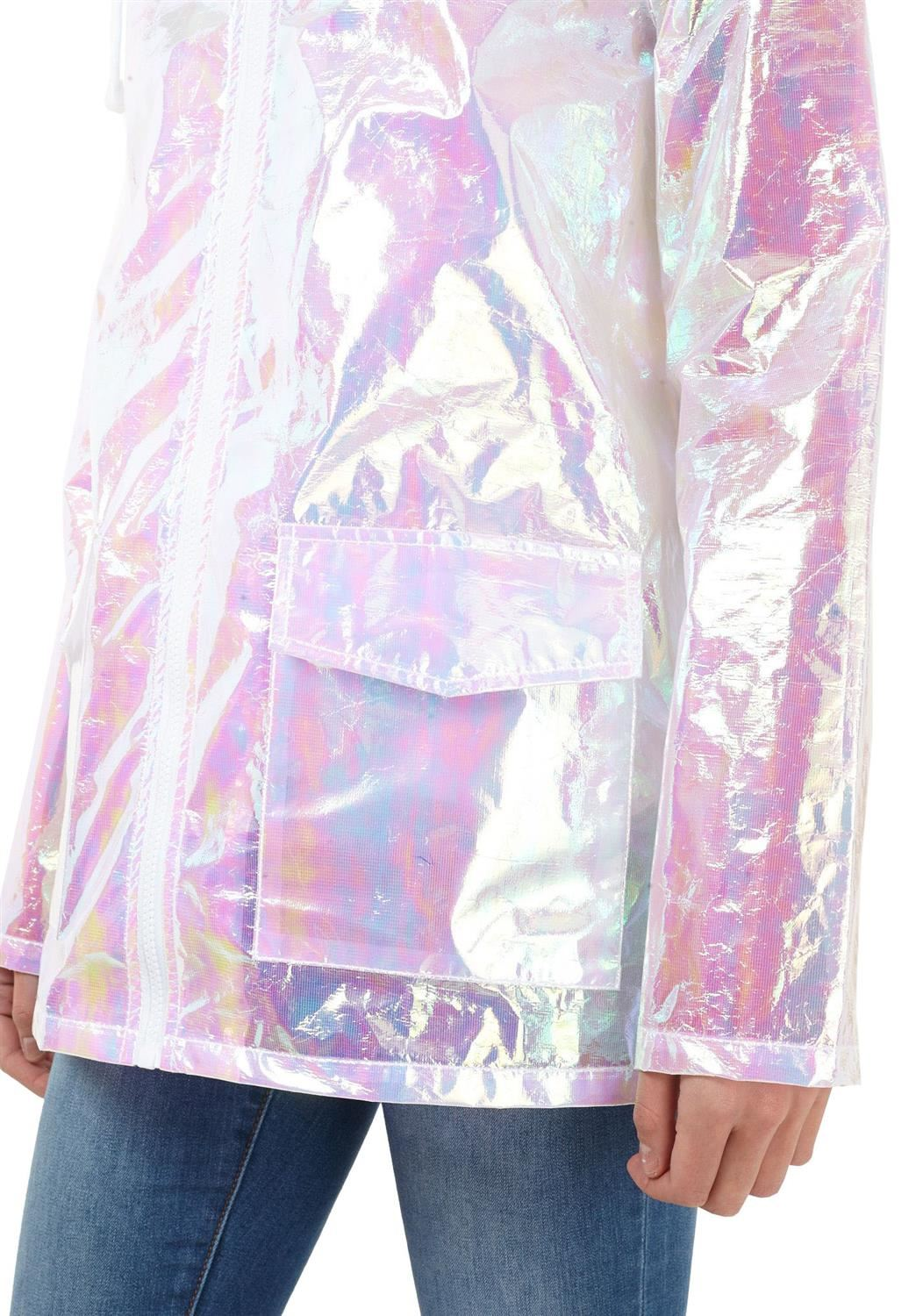 Womens-Waterproof-Holographic-Zipped-Neon-Festival-Mac-Jacket-Parka-Raincoat thumbnail 8