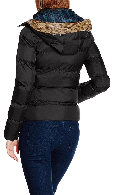 8 Winter Padded Womens navy New Puffer Black Hood 16 Faux Warm Jacket Fur Lined Coats wUattP