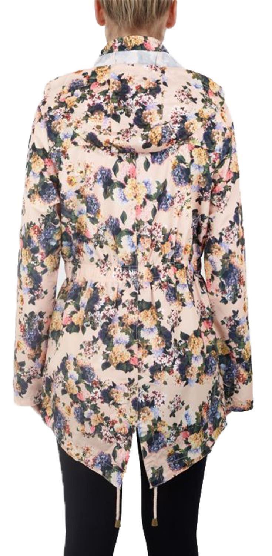 Womens Plus Size Printed Shower Proof Hooded Fishtail Parka Mac Raincoats Jacket