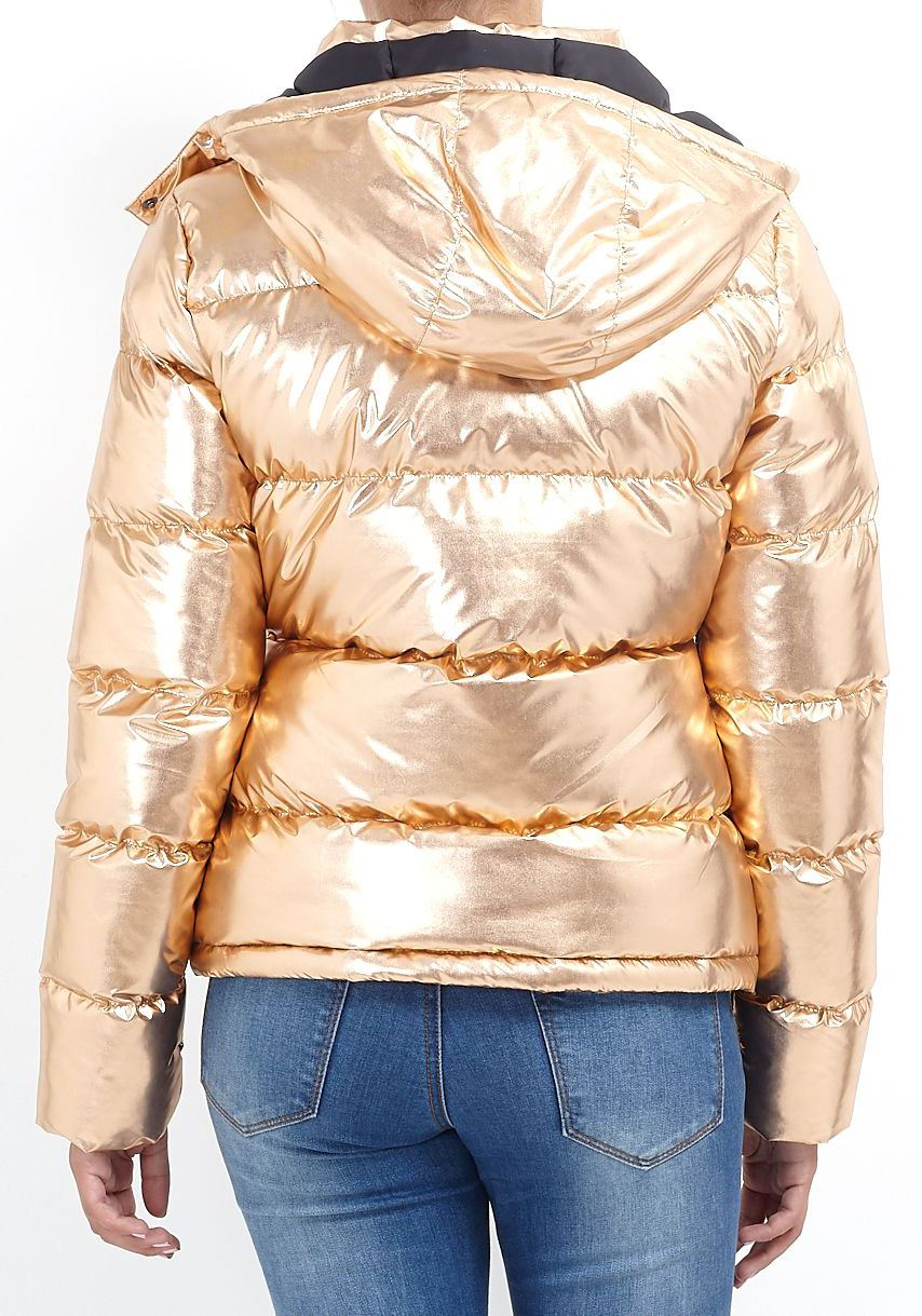 Womens Brave Soul Metallic Sliver Rose Gold Padded Puffer