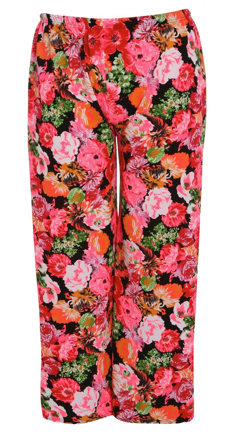 thumbnail 35 - New Women Casual Flare Wide Leg Long Floral Printed Palazzo Baggy Trousers