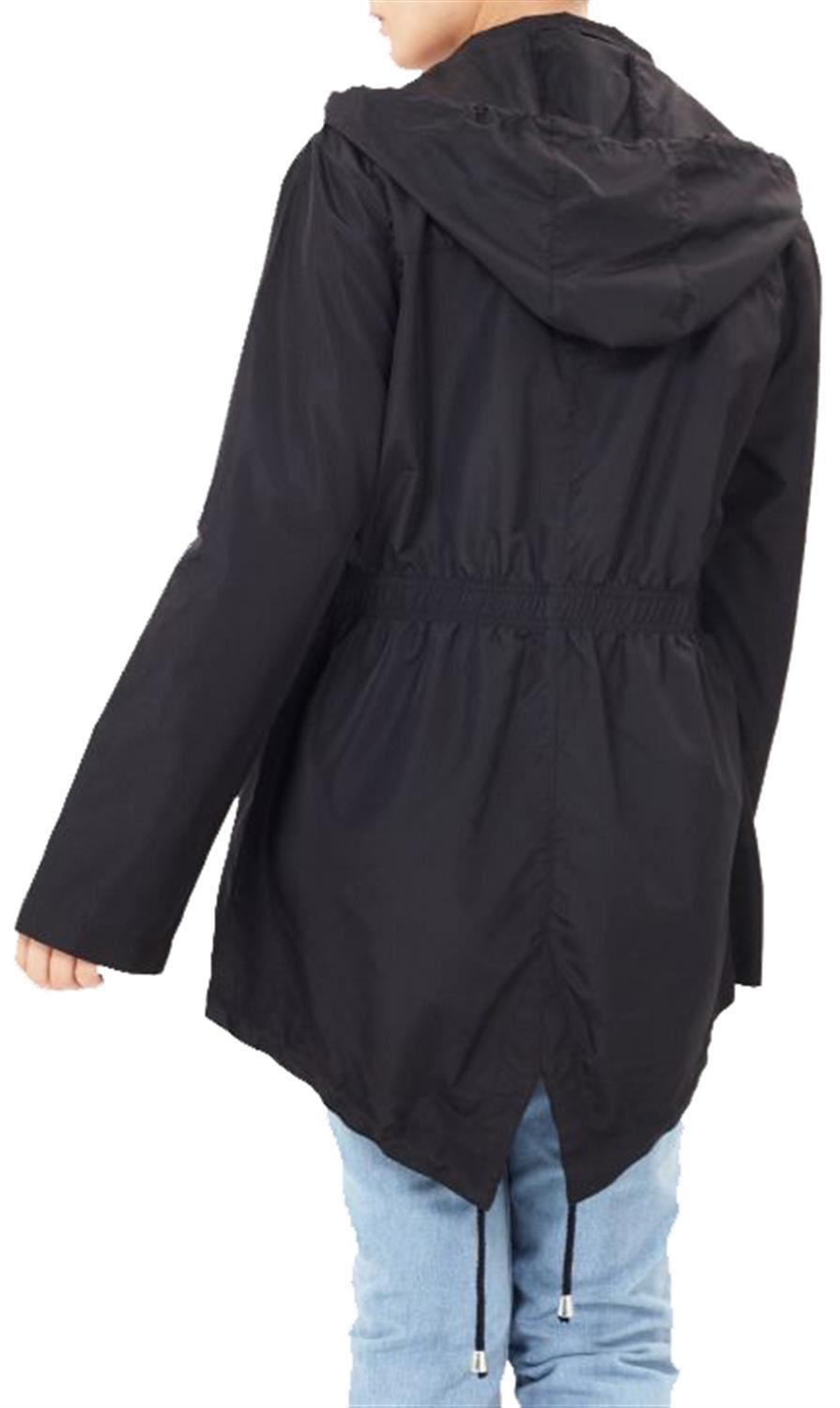 Ladies-Plus-Size-Plain-Printed-Parka-Hooded-Fishtail-Polyester-Mac-Raincoats thumbnail 61