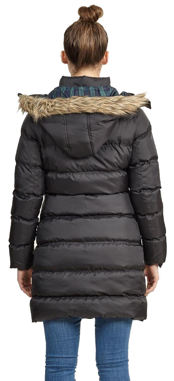 Nouveau-Femme-long-fausse-fourrure-col-matelasse-gilet-manteau-d-039-hiver-a-Capuche-Parka miniature 4