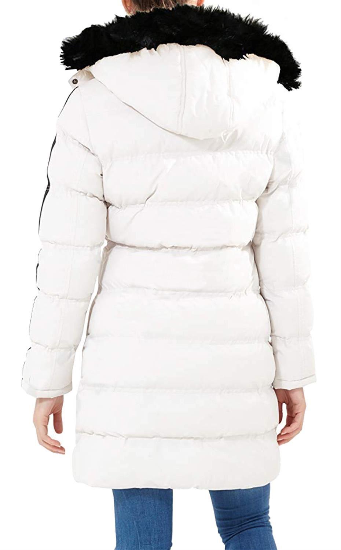 Nouveau-Femme-long-fausse-fourrure-col-matelasse-gilet-manteau-d-039-hiver-a-Capuche-Parka miniature 13