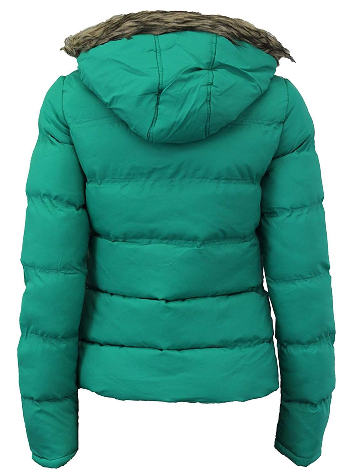 New-Womens-Funnel-Neck-Fur-Hooded-Padded-Quilted-Winter-Coat-Puffer-Parka-Jacket thumbnail 3
