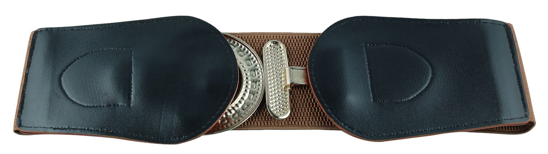 Ladies-Reptile-Skin-PU-Leather-Circle-Buckle-Wide-Stretch-Elasticated-Belts