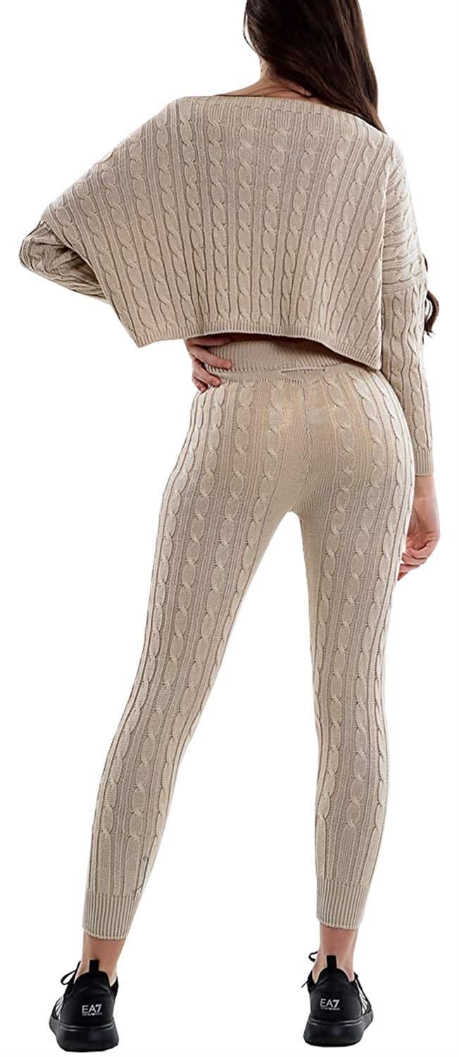 Details about Ladies Loungewear Cable Knitted Off Shoulder Two Piece  Co-Ords Tracksuit Set