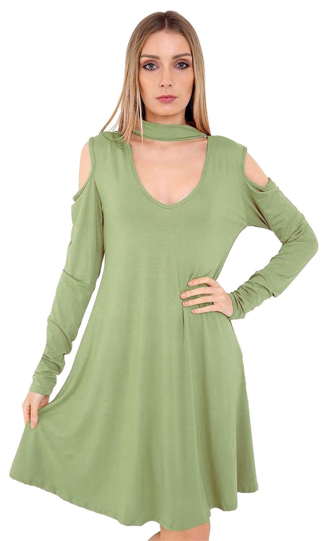 New Ladies Long Sleeve Chocker Neck Flared Swing Dress 8-26