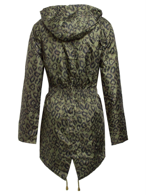 Womens Leopard Print Mac Jacket Fishtail Polyester Parka Hooded Jacket