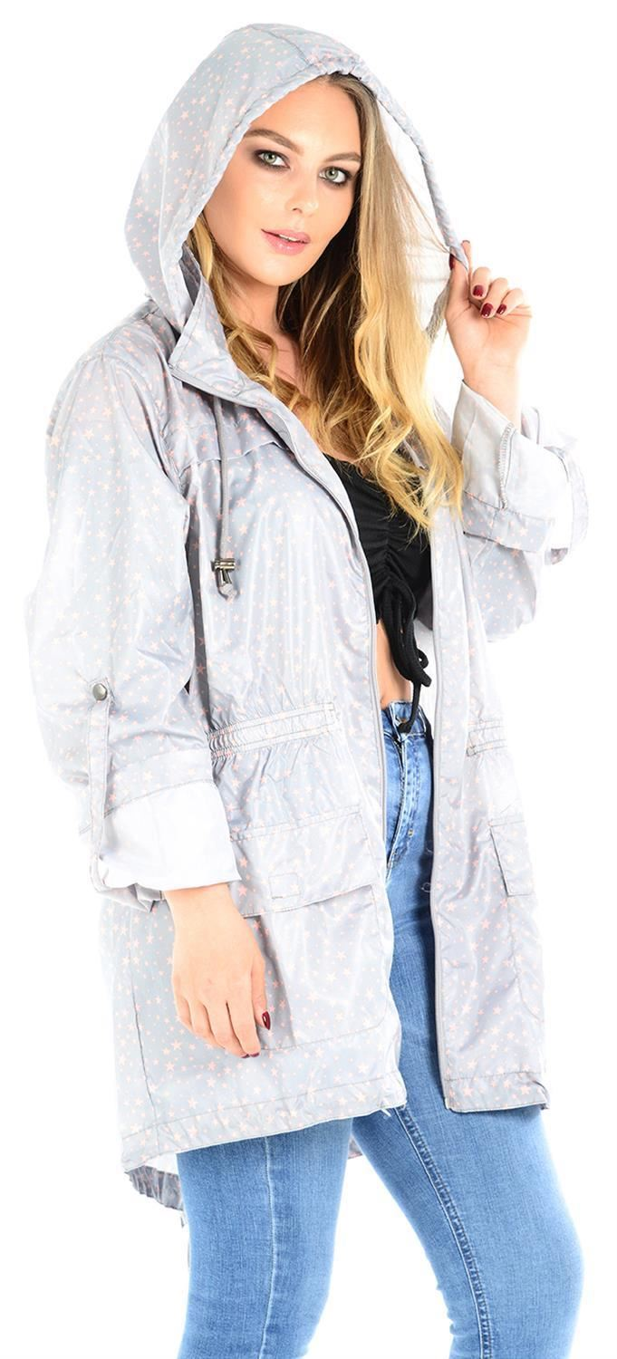 Ladies-Plus-Size-Plain-Printed-Parka-Hooded-Fishtail-Polyester-Mac-Raincoats thumbnail 77