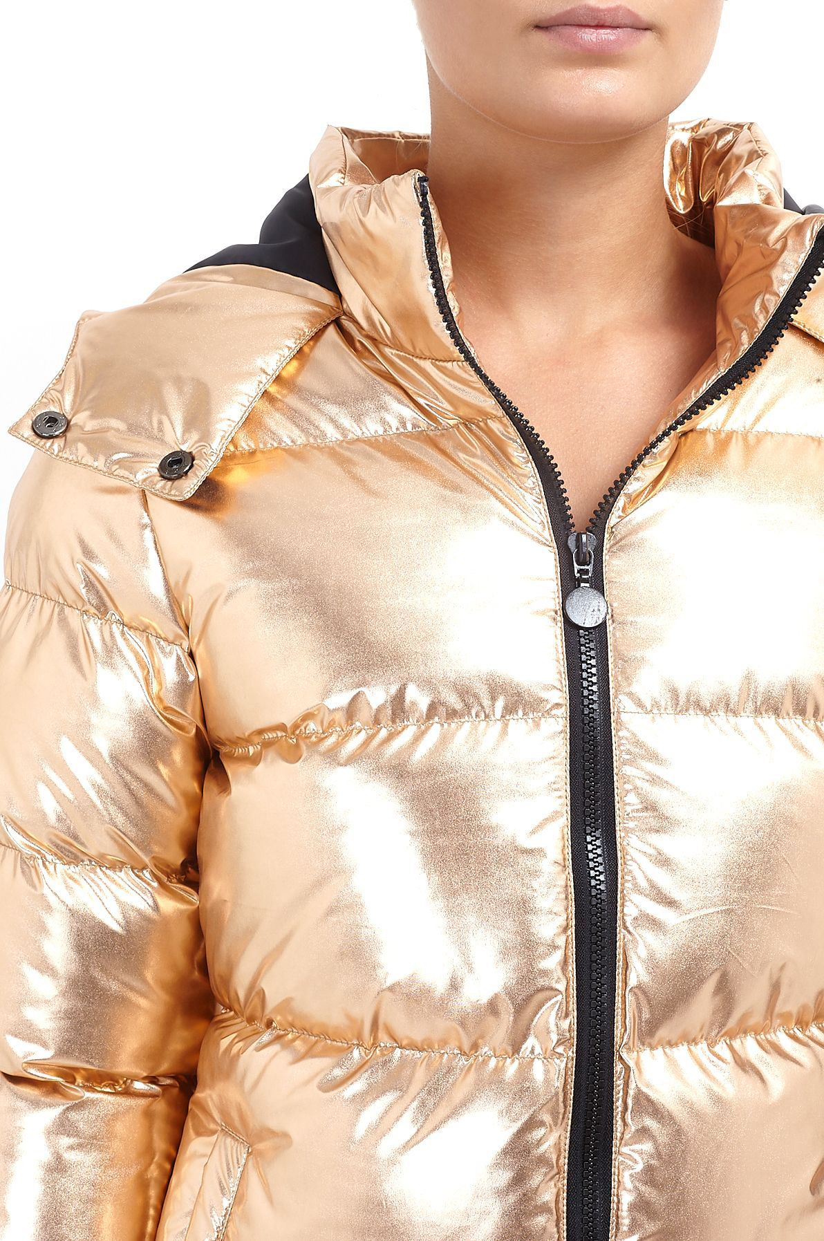 d4845f658 Details about Ladies Brave Metallic Puffer Padded Coat Quilted Hooded  Thunder Bomber Jacket