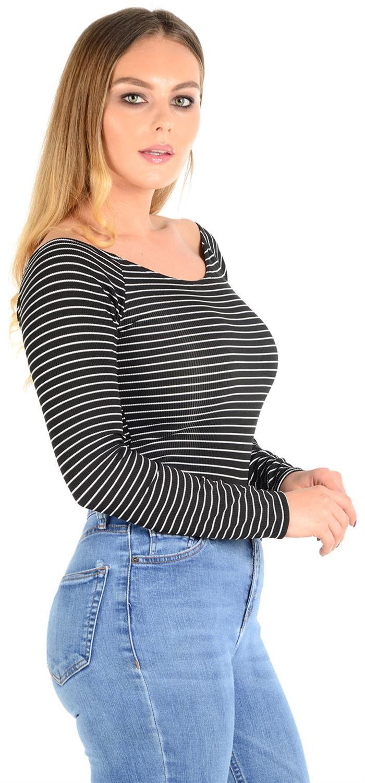 New Womens Stripe Ribbed Off Shoulder Bodysuit Leotard Tops 4-18  16232567d