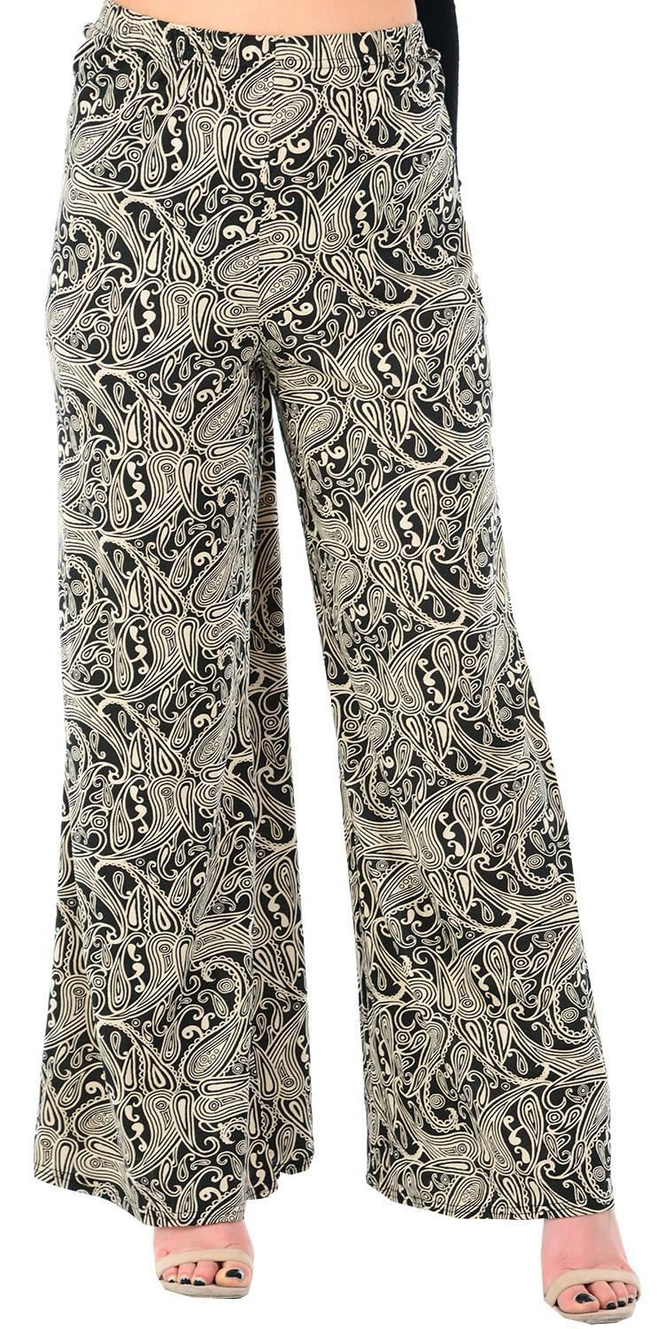 387c06ff76a8a New Ladies Wide Leg Palazzo Pattern Printed Baggy Flared Skater ...