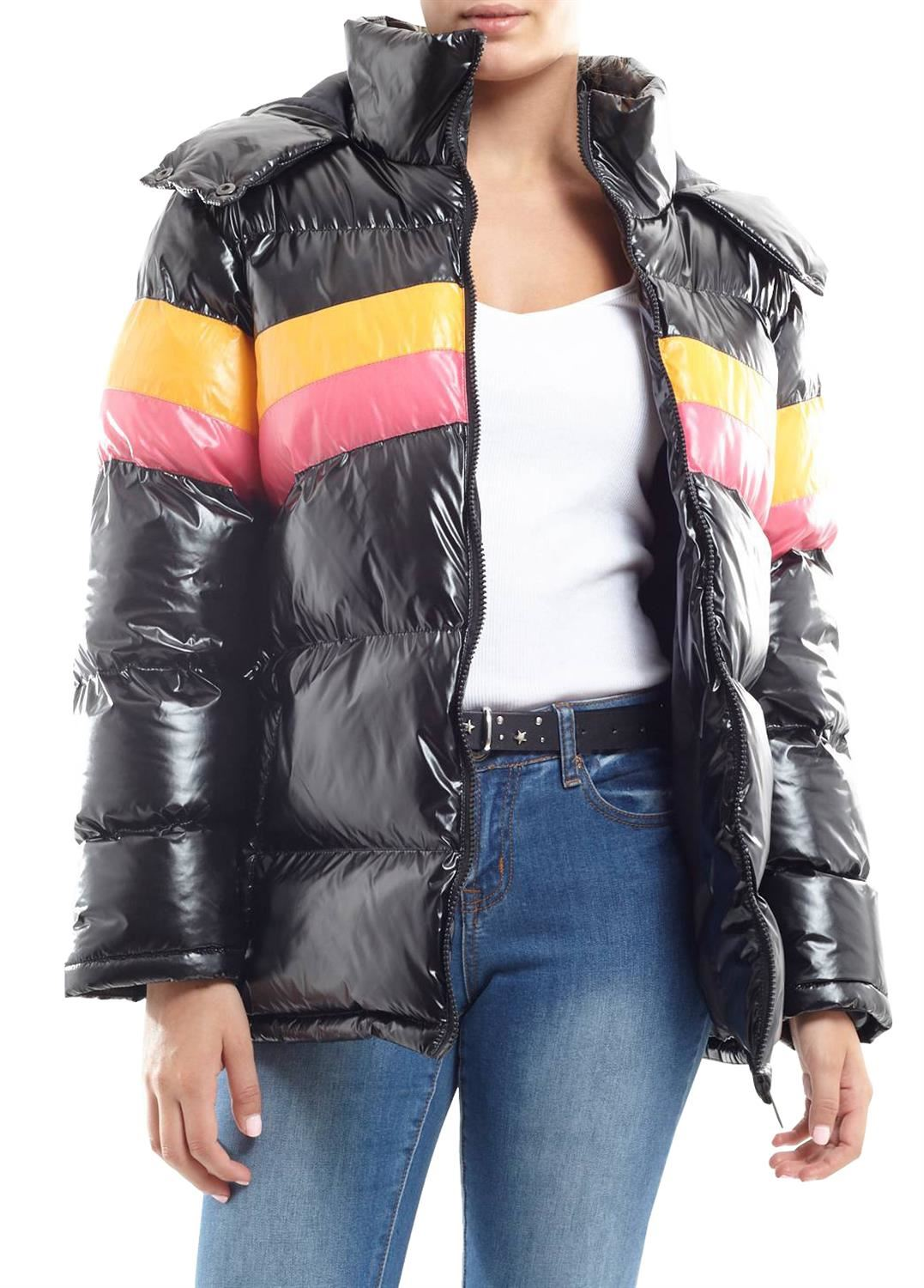 18d598f1f5 Details about Ladies Oversized Brave Soul Contrast Colour Hooded Padded  Quilted Jacket Coat